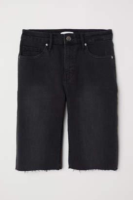 H&M Knee-length Denim Shorts - Gray