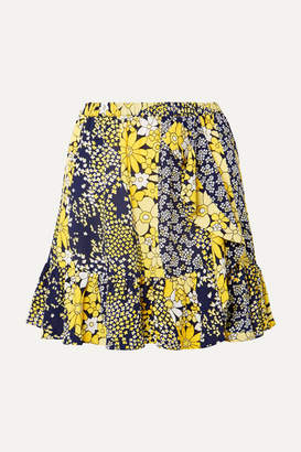 MICHAEL Michael Kors Ruffled Floral-print Chiffon Mini Skirt - Yellow