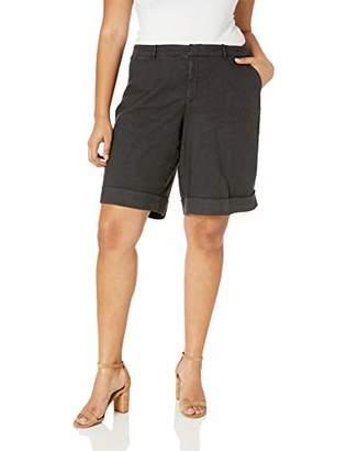 NYDJ Women's Plus Size Bermuda Linen Short with ROLL Cuff