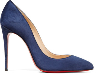 Christian Louboutin - Pigalle Follies 100 Suede Pumps - Navy $675 thestylecure.com