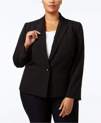 Kasper Plus Size Crepe One-Button Jacket