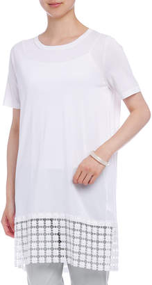 Malo 裾切替 クルーネック 半袖 チュニックドレス オフホワイト 40