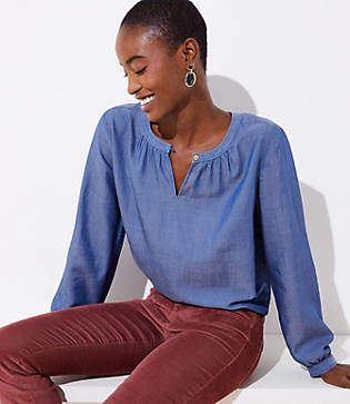 LOFT Petite Chambray Split Neck Tunic