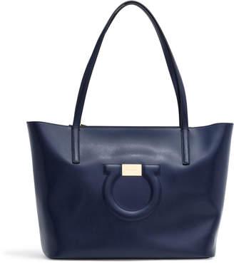 Salvatore Ferragamo Gancio City Dark Blue Leather Tote Bag