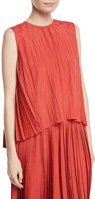 Vince Pleated Sleeveless Asymmetric Shell