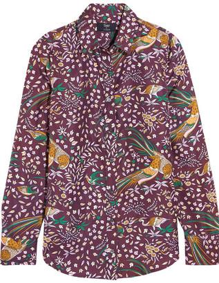 J.Crew - + Drake's Printed Silk-twill Shirt - Merlot $298 thestylecure.com