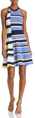 Parker Shea Fit-and-Flare Striped Knit Dress