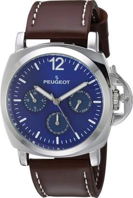 Peugeot Men's 'Silver Multi-Function' Quartz Metal and Leather Sport Watch, Color:Brown (Model: 2056SBL)
