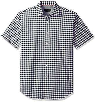 Bugatchi Men's Tapered Fit Lozenge Check Point Collar Short Sleeve Shirt