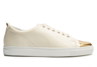 LANVIN Capped-toe low-top leather trainers $625 thestylecure.com