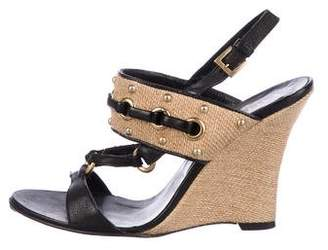 Valentino Woven Ankle Strap Wedges