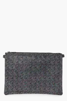 boohoo Metallic Clutch Bag With Chain