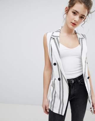 Bershka Stripe Sleeveless Blazer