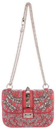 ValentinoValentino Small Crystal-Embellished Glam Lock Flap Bag w/ Tags
