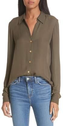 L'Agence Fiona Shirred Sleeve Silk Blouse