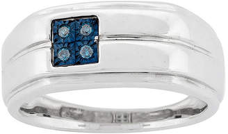 FINE JEWELRY Mens Color-Enhanced Blue Diamond Accent Sterling Silver Ring