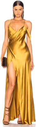 Michelle Mason Strappy Cowl Wrap Gown