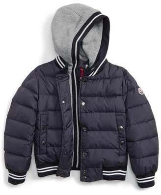 Moncler Auberie Hooded Water Resistant Down Varsity Jacket