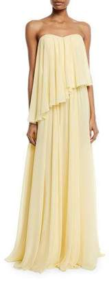 Badgley Mischka Asymmetric Strapless Popover Gown