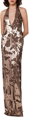 Akris Sequined Jersey Halter Gown, Gold