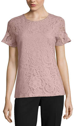 Liz Claiborne Womens Crew Neck Short Sleeve Lace Blouse