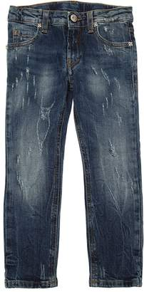 John Richmond LOGO PRINT DESTROYED STRETCH DENIM JEANS