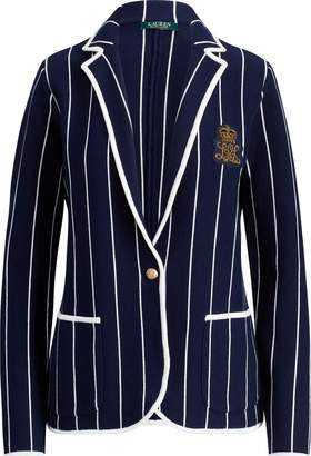 Ralph Lauren Bullion-Patch Striped Blazer