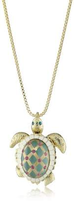 "Betsey Johnson Sea Excursion"" Turtle Pendant Necklace Long Necklace"