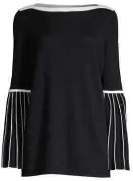 Elie Tahari Women's Simcha Merino Contrast Trim Sweater - Black Fres - Size Large