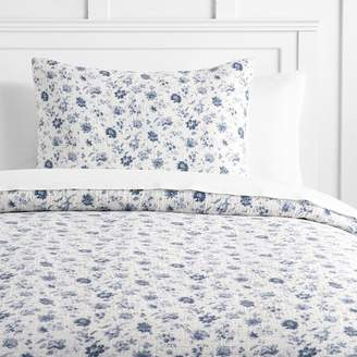 Pottery Barn Teen Vintage Floral Matelasse Duvet Cover, Full/Queen, Blue
