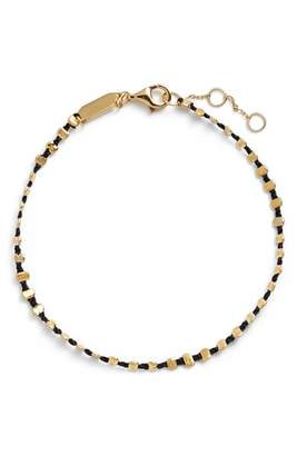 Argentovivo Sydney Vermeil Studded Black Band Bracelet