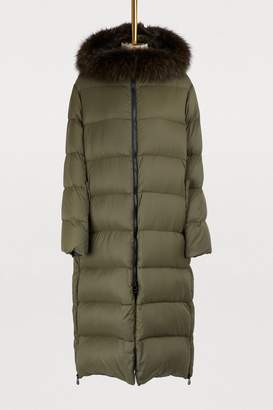 Yves Salomon Army Long puffer coat with fur collar