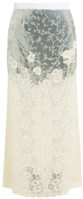 Paco Rabanne Chainmail And Chantilly Lace Maxi Skirt - Womens - Silver Multi