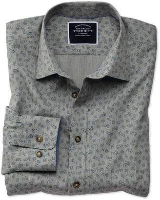 Charles Tyrwhitt Classic Fit Grey Floral Print Cotton Casual Shirt Single Cuff Size Medium