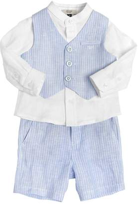 Armani Junior Striped Linen Shirt, Vest & Shorts