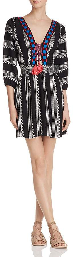 Piper Ramones Embroidered Lace-Up Dress