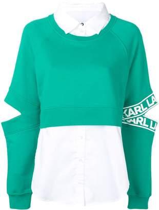 Karl Lagerfeld Paris fabric mix sweatshirt