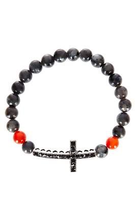 Ash Jean Claude Curved Cross Agate & Carnelian Bead Bracelet