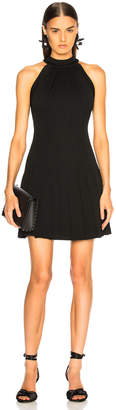 Brandon Maxwell Pebble Crepe Halter Pleated Mini Dress