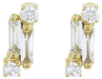 Suzanne Kalan Single Baguette and Round Diamond Stud Earrings - Yellow Gold