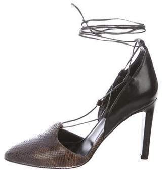 Max Mara Embossed Lace-Up Pumps