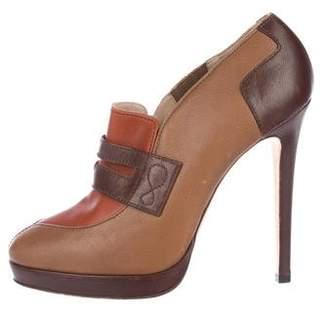 Oscar de la Renta Leather Ankle Booties