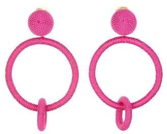 Oscar de la Renta Double Hoop Clip On Earrings