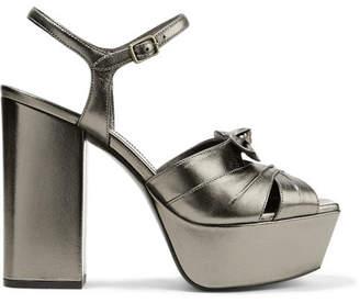 Saint Laurent Farrah Bow-embellished Metallic Leather Platform Sandals