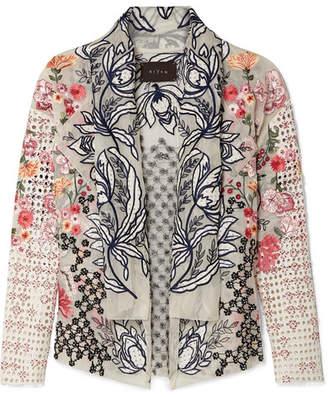 Off-White Biyan - Kaytra Embellished Broderie Anglaise Cotton-organza Jacket