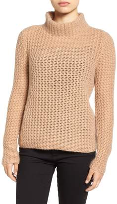 Halogen Stitch Detail Cashmere Mock Neck Sweater (Regular & Petite)
