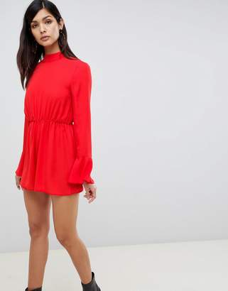 Asos Design DESIGN romper with frill hem and tie back