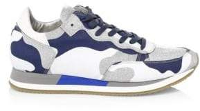 Philippe Model Glitter Camo Leather Runners