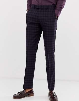 Farah Smart Hurstleigh Skinny Fit Check Suit Pants In Burgundy