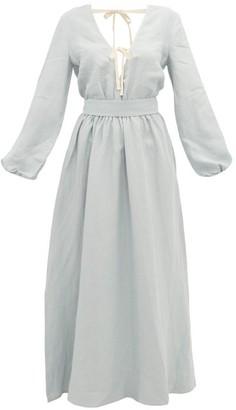 story. White Greta Linen Maxi Dress - Womens - Light Blue